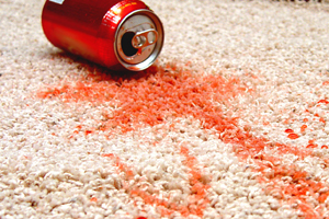 red pop stain removal on beige carpeting